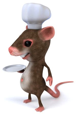 Mouse character with chef hat holding a plate