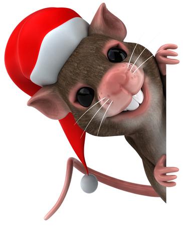 산타 모자를 든 마우스 캐릭터