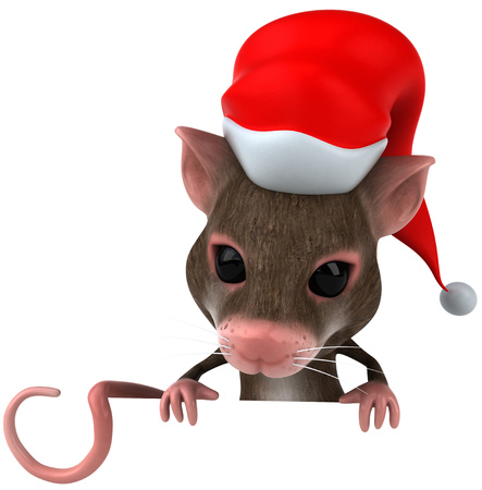 Mouse character with santa hat looking down
