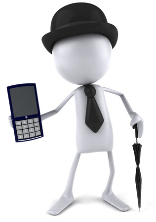 3D gentleman holding a mobile phone Stock Photo