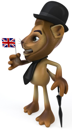 Lion character in gentleman attire holding a UK flag Stock Photo