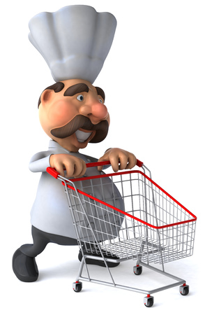Chef character pushing a shopping cart