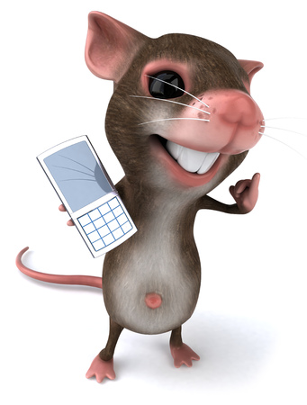 Mouse character showing a mobile phone Stock Photo
