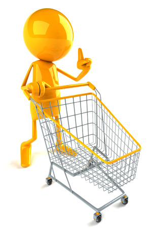 legs up: 3D character pushing a shopping trolley Stock Photo