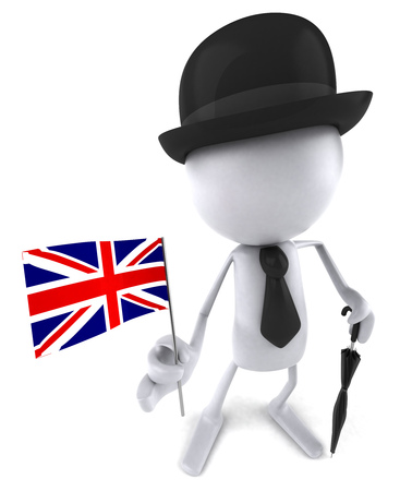 3D character in gentlemen attire holding a UK flag