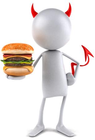 3D devil character holding a burger