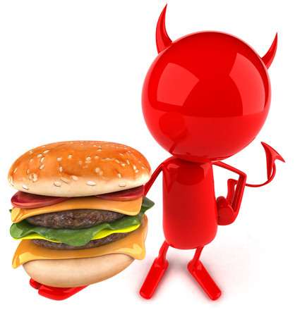 3D devil character holding a burger