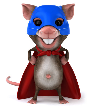 Mouse character in hero costume Stock Photo
