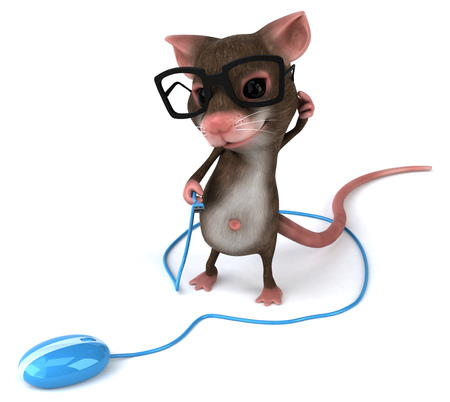 Mouse character with spectacles holding an optical mouse