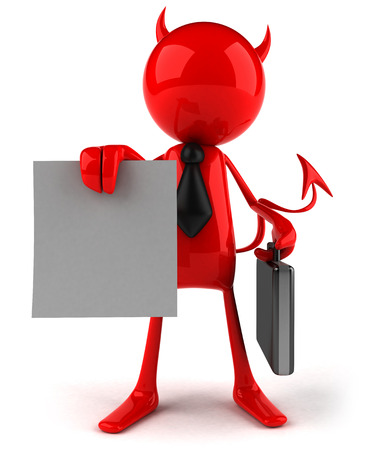 3D devil character in business attire showing a contract