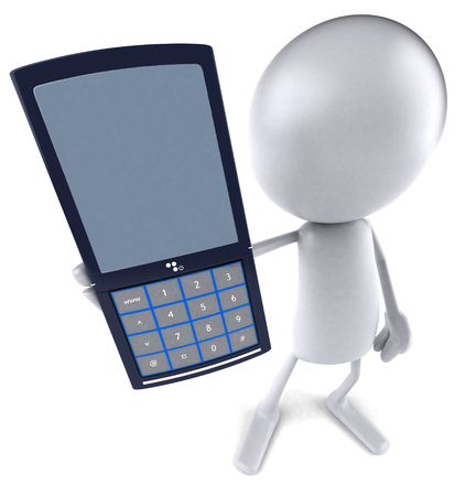 mobilephone: 3D character showing a mobile phone
