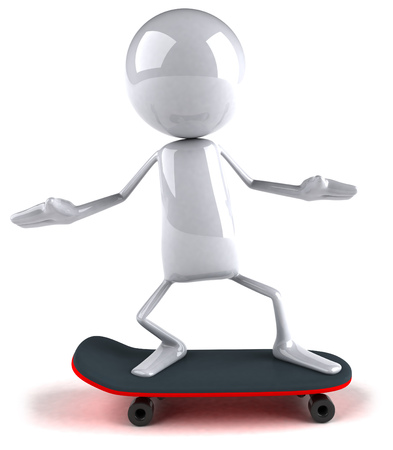3D character on skateboard