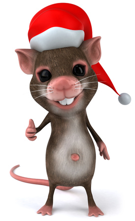 Mouse character with santa hat showing thumbs up Stock Photo