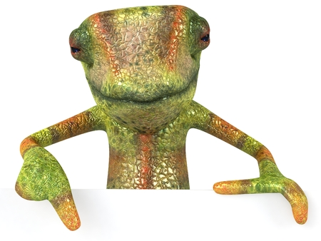 Chameleon character pointing below