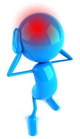 tense: 3D character having a headache