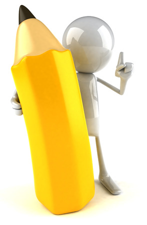 3D character holding a pencil