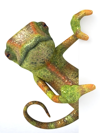 Chameleon character appearing from wall