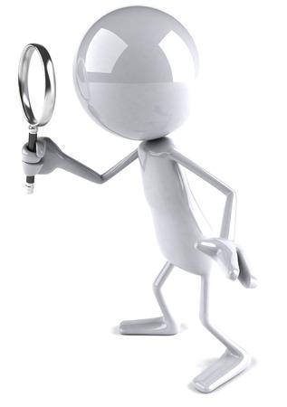 虫眼鏡を使用して 3 D キャラクター 写真素材