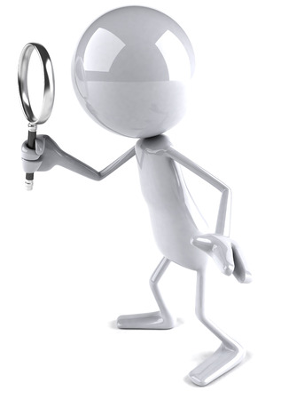 3D character using magnifying glass Stock Photo - 81852976