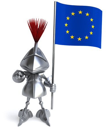 Knight holding the European flag