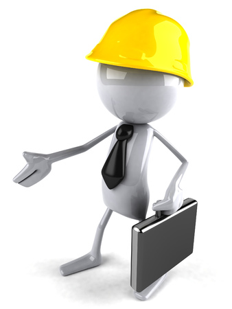 3D character as builder reaching out for handshake
