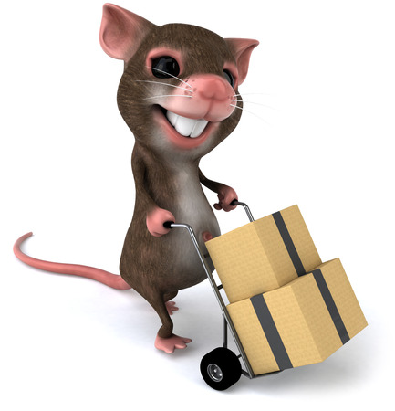 Mouse character pushing a trolley with boxes