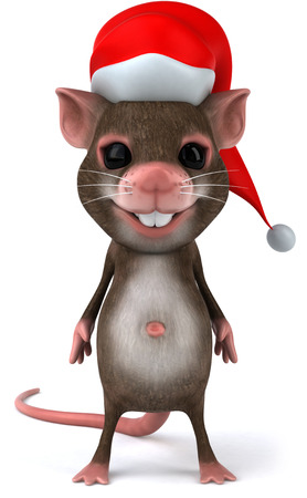 Mouse character with santa hat