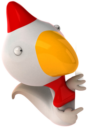 Chicken character pointing