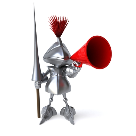 joust: Knight with weapon of joust using megaphone Stock Photo