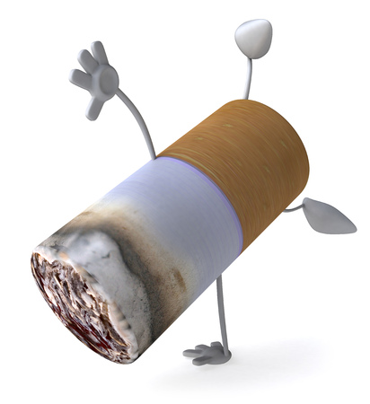 Cigarette character doing a handstand