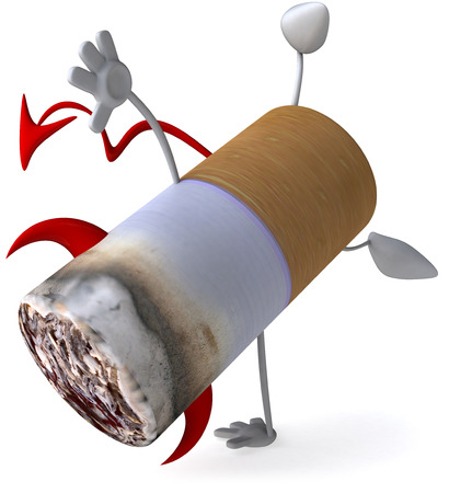 Cigarette character in devil costume doing a handstand Stock Photo