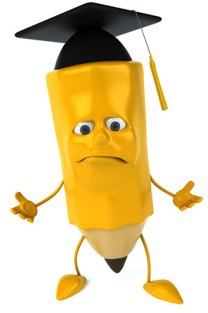 Pencil character with graduation hat feeling sad