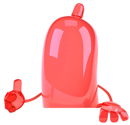 preventive: Condom character showing thumbs up