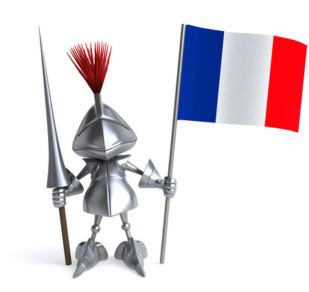Knight with weapon of joust holding a French flag