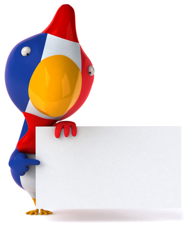 themed: Chicken in french themed costume holding placard