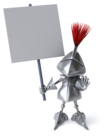 Knight holding a signboard