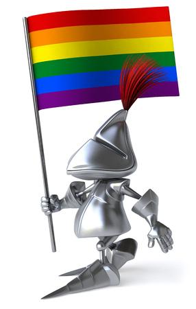 Knight holding a rainbow flag
