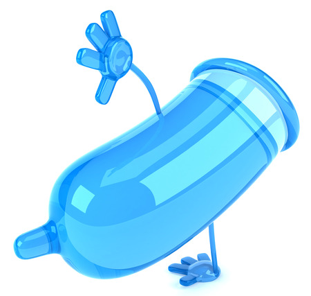 pouch: Condom character doing a handstand