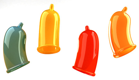 Colorful condoms Stock Photo