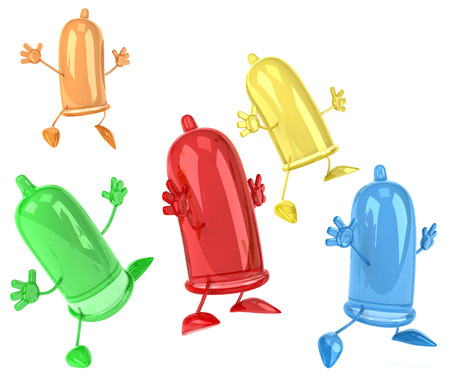 Group of condom characters