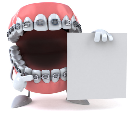 Dentures character with braces pointing to a placard