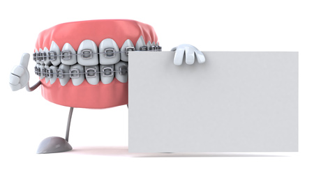 Dentures character with braces showing  thumbs up with placard