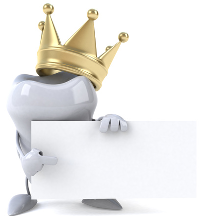 Tooth character with crown pointing to a placard