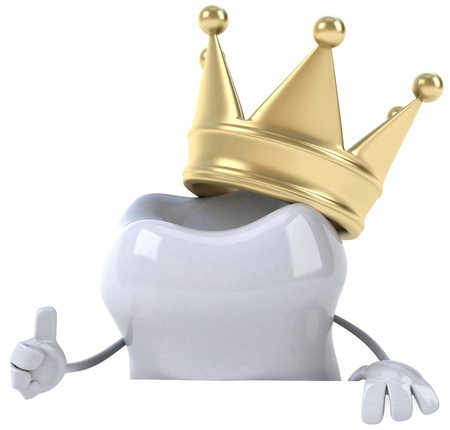 Tooth character with crown showing thumbs up