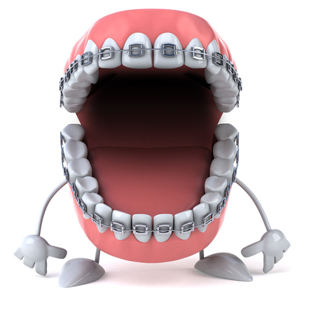 Dentures character with braces Stock Photo