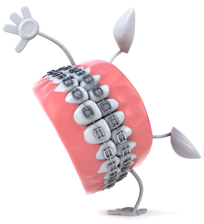 Dentures character with braces doing a handstand