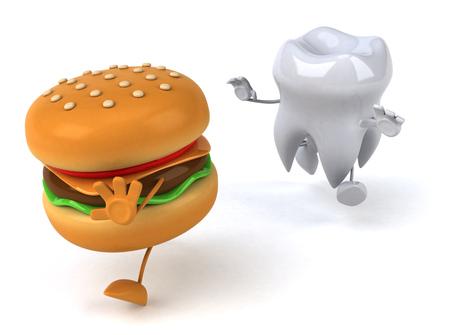 Tooth character chasing burger character