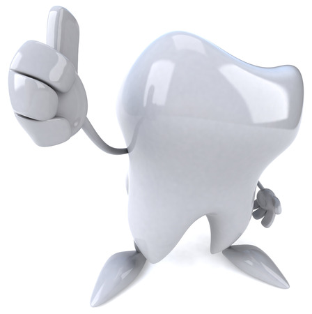 Tooth character showing thumbs up