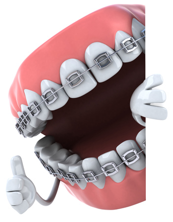 Dentures character with braces showing thumbs up Reklamní fotografie - 81107827