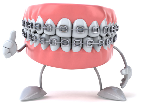 Zahnersatz Charakter mit Klammern zeigt Daumen hoch Standard-Bild - 81107896